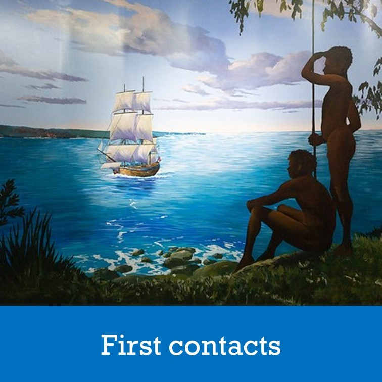 painting of Aboriginal men and the Endeavour
